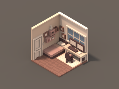 Room #2 isometric room poly magicavoxel 3d