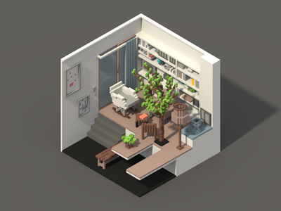 Room #4 voxel room poly magicavoxel 3d