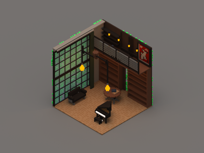 Room #5 room poly voxel isometric 3d