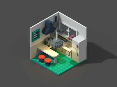 Room #6 voxel room poly isometric 3d