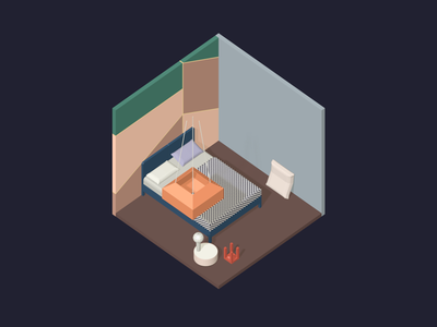 Room #11 room poly low isometric blender 3d