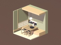 Room #12 room poly low isometric blender 3d