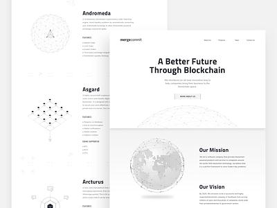 MergeCommit ui coins ethereum bitcoin website team design development blockchain technology