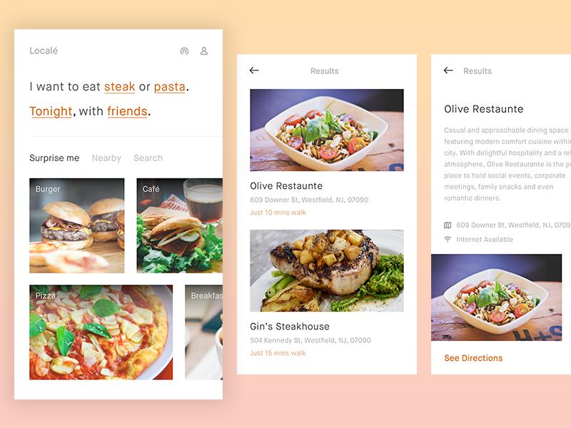 Local'e - Food finder restaurant cafe suggestion nearby finder food design ui app