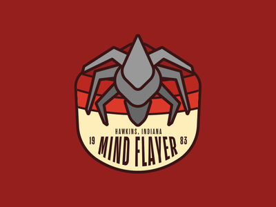 Mind Flayer hawkins monster typography retro badge things stranger mind flayer