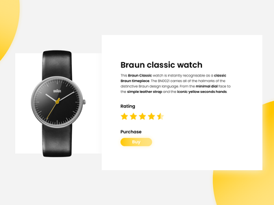 Braun classic watch landing webdesign website web ui design