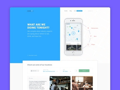 Landing Page for evening planner app