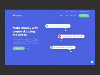 Landing Page for Crypto startup web app ux design ui design landing page crypto