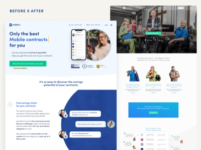 Home Page Before / After research ux landing page ui design