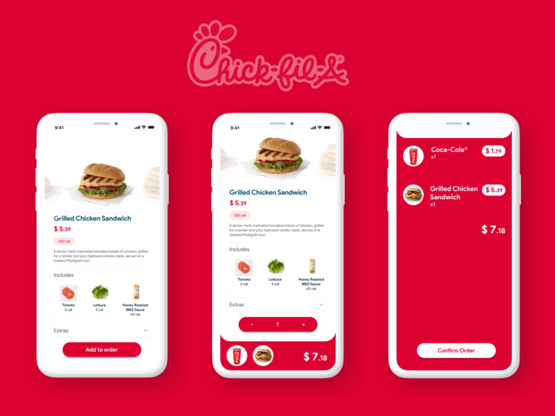 Chick-fil-a app redesign order figma app iphone design ux uiux sandwich burger order food ui chick-fil-a