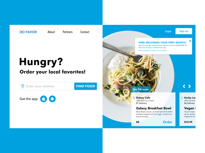 Favor Delivery Website Design food landing page sketch ux ui texas favor food ordering website