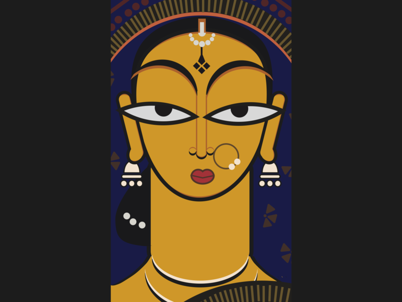 Hand Maiden byJamini Roy vectorized vector art art indian digital art