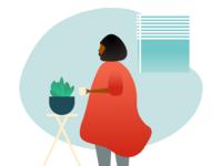 Woman holding cup - minimal illustration figma woman minimal house coffee illustration