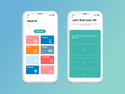 Categories and Search plant mobile sketch app ux ui design