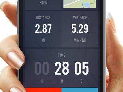 Running App translucent flat mobile chart graph numbers map timer app sport run