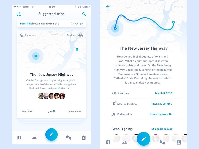 Let's have a ride design material flat light map trip startup app mobile bike