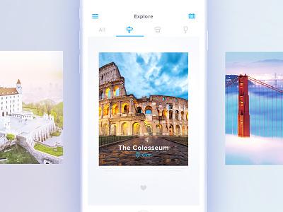 Travel App + free mockup mockup iphone white minimalistic image city ui ux mobile travel tinder