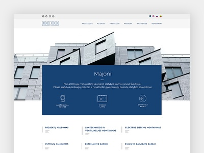 Construction company website landing homepage clean bright minimal construction