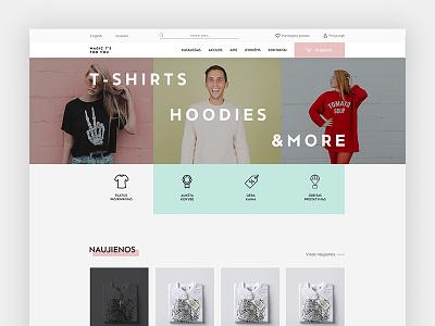 Magic T's colorful clean bright minimal ecommerce landing page homepage minimal design minimal website
