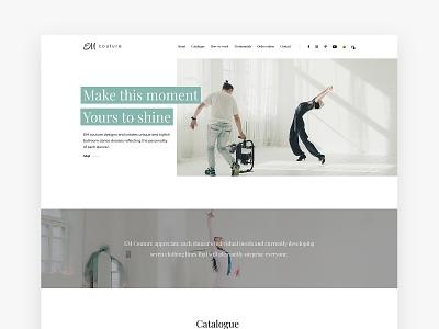 EM Couture website homepage minimal clean bright