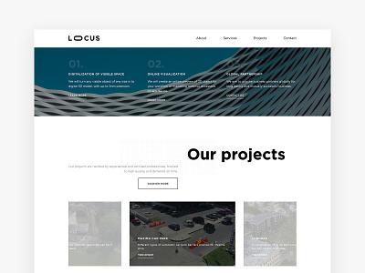 Locus design website homepage minimal clean bright