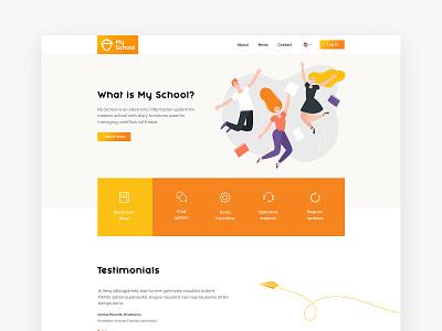 My School design website homepage minimal clean bright