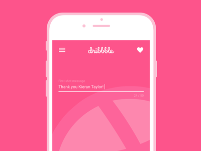 I'm on Dribbble! shot first