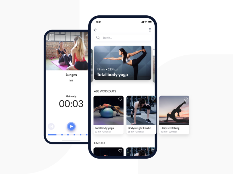 Fitness & Meals App — Workouts sport app training cards ui free fitness app timeline ui kit ui pack search workouts workout app application app typography