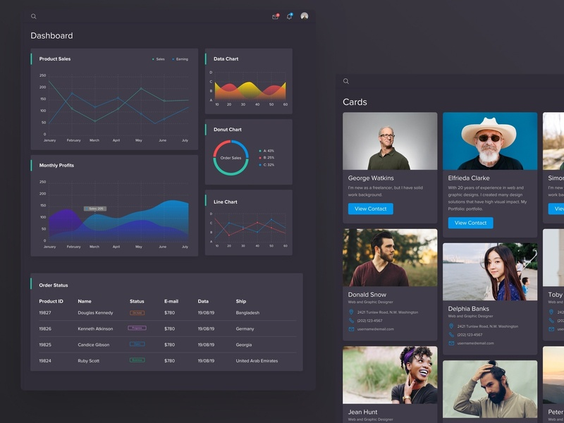Dark Dashboard Panel Design chart ui kit ui guide analytics crm panel admin panel dashboard dash