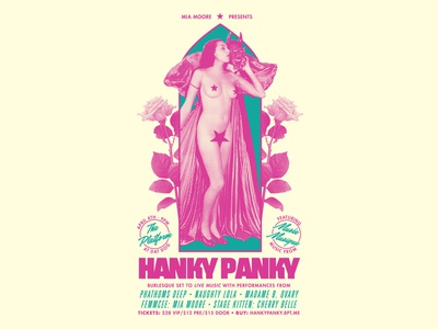 Hanky Panky typography nude vintage halftone collage burlesque poster