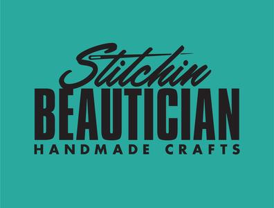 Stitchin Beautician typography diy sewing crafts branding icon logo
