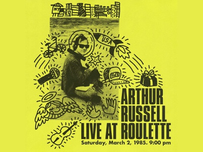 Arthur Russell Live at Roulette 1980s zine arthur russell doodle halftone music illustration
