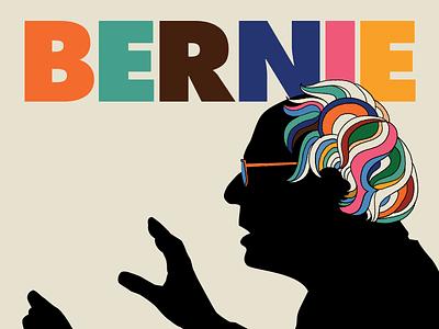 Bernie bob dylan retro 60s psychedelic milton glaser fundraiser concert music bernie sanders illustration