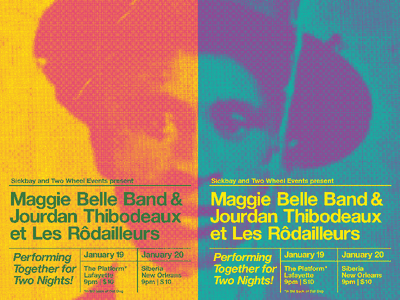 Maggie Belle Band / Jourdan Thibodeaux at Les Rodailleurs diptych psychedelic louisiana soul creole cajun music typography poster