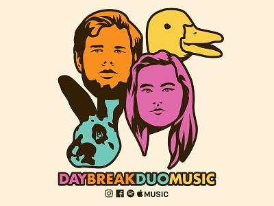 Daybreak Duo Fambly Portrait pop art colorful duo songwriter music animals vector illustration portrait