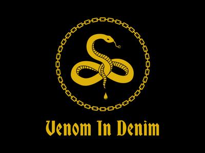 Venom In Denim new orleans gold black snake denim embroidery chainstitch punk metal logo