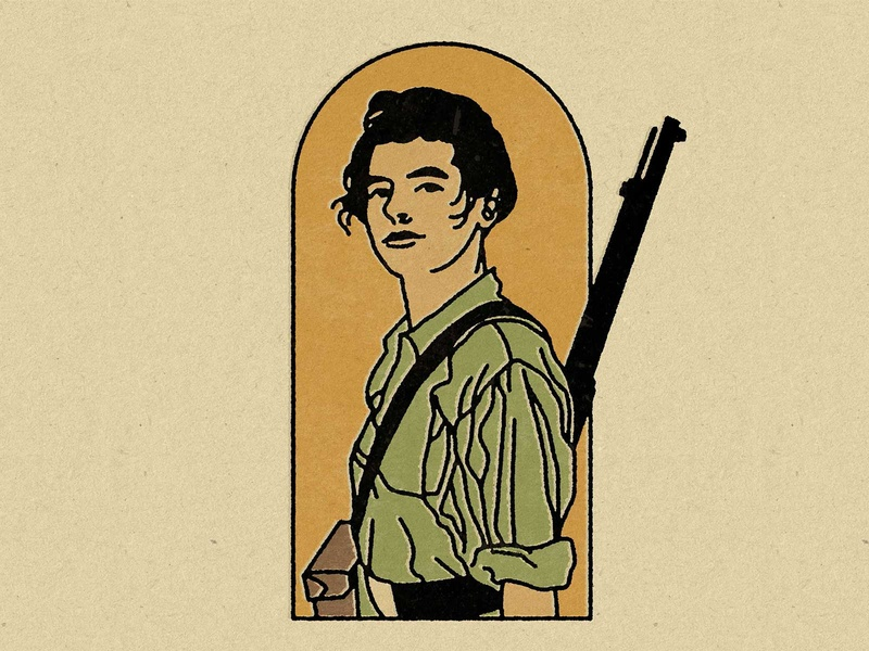 A woman's place is in the revolution. vintage military retro portrait lineart illustration