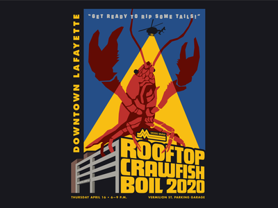 Downtown Lafayette Rooftop Crawfish Boil Poster vintage retro crawfish louisiana illustration