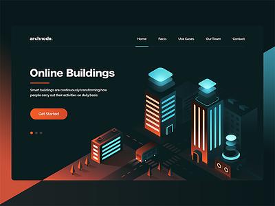 Isometric / Archnode Landing Page homepage web ux ui landing design isometric