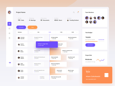 Project Tracker – Dashboard flat calendar product ui ux design analytics dashboard application