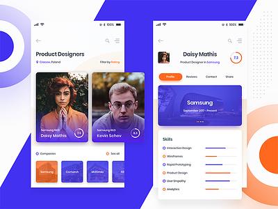 DevSeeker – App Concept settings options ux service gradient design color branding ui profile mobile app