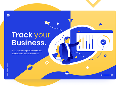 Business Statistics - Landing Page brand web site design ux interface flat header ios ui app illustration