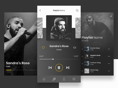 Custom Music Player App application interface user design ui player musical iphone music app mobile