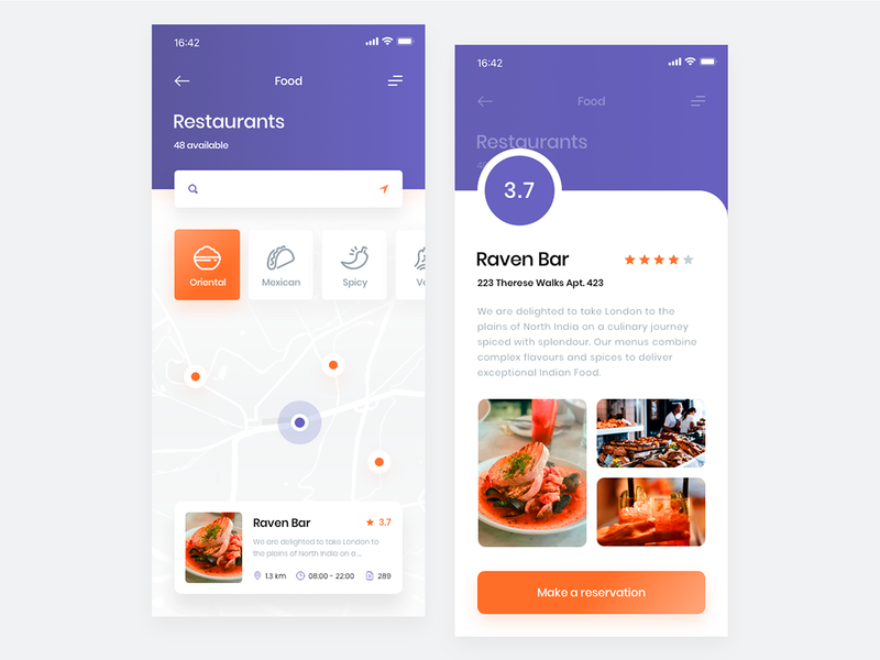 Restaurant Finder App - Map & AR brand ux application flat ios interface mobile kitchen food app restaurant ui