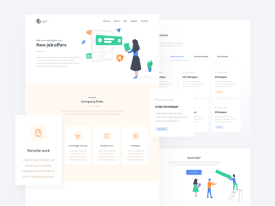Jobs Page - Softnauts Game dashboard clean vector web brand interface design icons ux illustration website ui branding