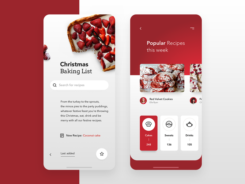 Christmas Baking App - Recipes 🎄 flat clean modern minimalism mobile minimal interface design application ui cooking baking app holiday christmas