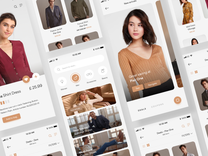 Amstyle - Online Shopping App 👜 interface flat ux popular ui mobile minimalism fashion design clean branding shopping shop clothing clothes app
