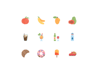 Icons - Favorite Foods flat color