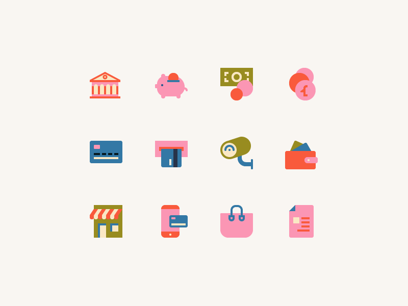 Icons for an online shop online shop commerce business flat color scalable color digital vector iconography icons