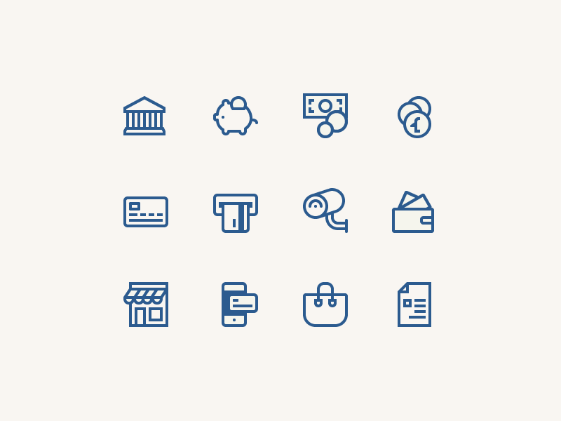 Icons for an online shop - outline version online shop commerce business ouline line digital vector iconography icons